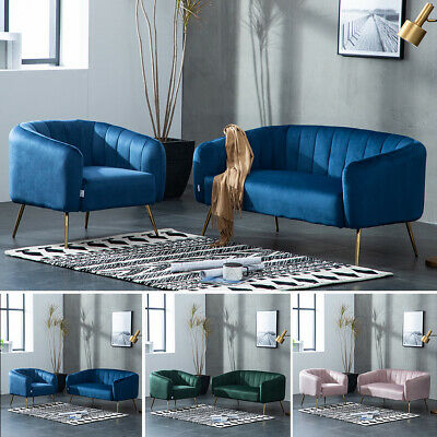 Velvet Chesterfield Sofa Settee Apartment Armchair Lounge Couch Modern Metal Leg
