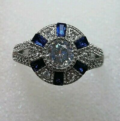AD101 925 sterling silver Art Deco Vintage White Blue Sapphire Halo Ring R