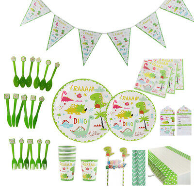 Kids Dinosaur Theme Birthday Party Supplies Decorations Favor Kids Tableware