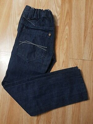 Next Boys Age 7 Years Denim Blue Straight Adjustable Jeans Trousers Excellent