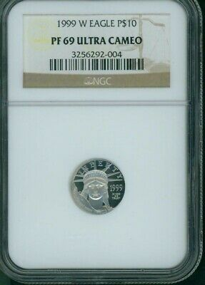 1999-W $10 PLATINUM EAGLE 1/10 Oz. STATUE OF LIBERTY NGC PF69 PROOF PR69