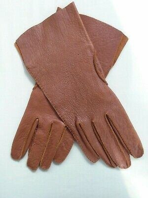Vintage Brown Leather Gauntlet Driving Gloves Mens Womens 1930s 1940s 1950s