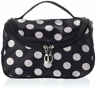 AKORD Zipper Cosmetic Toiletry Hand Case with Dot Patterns, White/Black