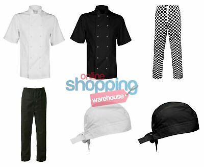Chef's White's Jacket Bandana Pants Trousers Chessboard Kitchen Cook Clothing