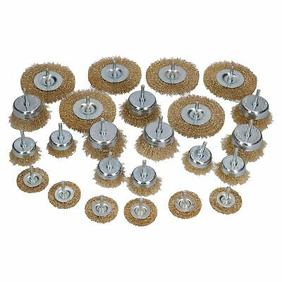 Steel Brass Coated Wire Wheel Rotary Cup Flat Brush Set Rust Removal Remover