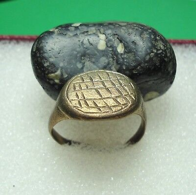 Ancient Roman Bronze Ring Sown Field Kievan Rus Original Authentic Antique R104