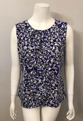 Calvin Klein Purple Gray Stained Glass Print Stretch Jersey Top Size L