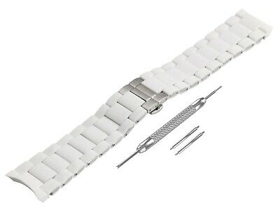 For EMPORIO ARMANI AR5859 White Rubber Steel Strap Band Bracelet Watch 23mm