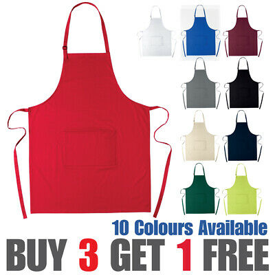 100% Cotton Apron Chef Catering Adjustable Apron With Front Pocket Waiter Bistro