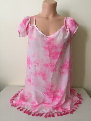 Miken Tie-Dyed Cross Back Cold Shoulder Fringed Cover-Up Large NWT