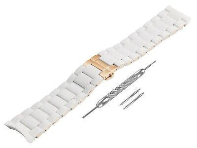 For EMPORIO ARMANI AR5919 White Rubber Steel Strap Band Bracelet Watch 23mm