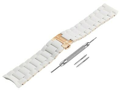 For EMPORIO ARMANI AR5943 White Rubber Steel Strap Band Bracelet Watch 20mm