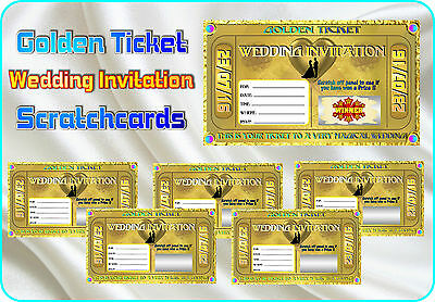 GOLDEN TICKET WEDDING Invitations SCRATCH CARDS Customise Party Invite Cards