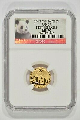 2013 China 1/10th oz Fine Gold Panda 50 Yuan G50Y NGC MS70 3691498-065