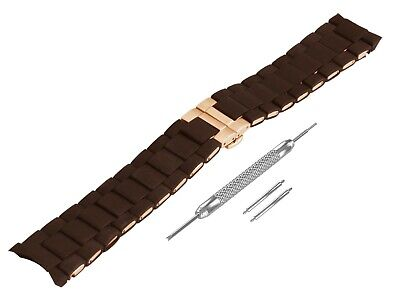 For EMPORIO ARMANI AR5890 Brown Rubber Steel Strap Band Bracelet Watch 23mm