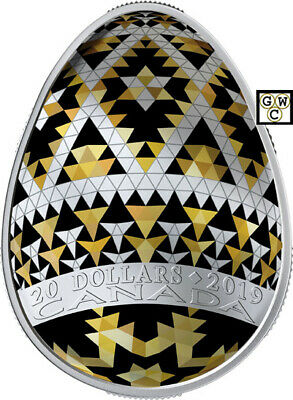 2019 'Vegreville Pysanka' Egg-Shaped Proof $20 Fine Silver 1oz. Coin (18697)(NT)
