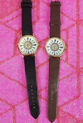 Womans Lot of 2 Sexy Cute Hippie Arrow Bohemian Brown Black Set Watches Jewelry
