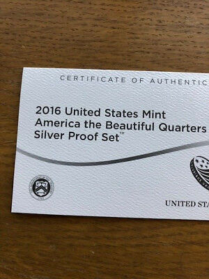 2016 U. S. Mint America The Beautiful Quarters Silver Proof Set