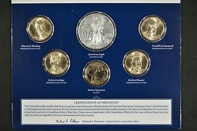 2014 United States Mint Annual Uncirculated Dollar Coin Set Cracked Capsule
