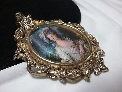 Vintage Gold Brass Ornate Padded Silk Victorian Italy Lady Wall Frame Charm