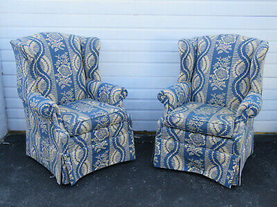 Pair of Wing Side Living Bed Room Fireplace Vintage Chairs by Jonell 9620