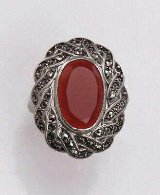 Antique c1925 Sterling Silver Carnelian Marcasite Cocktail Ring Size 6 1/4