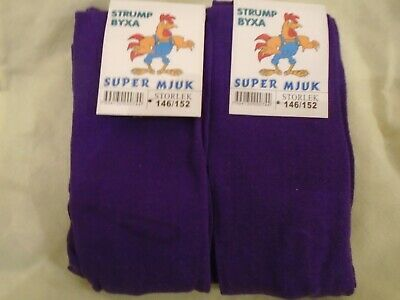 Girls warm purple tights size 146-152 age 11-12yrs x TWO PAIRS