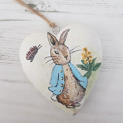 Unique Hand Painted Peter Rabbit Hanging Heart - Nursery Baby Shower Gift (10j)