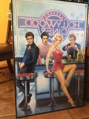 Hollywood Diner Poster With Elvis, Monroe, Dean, and Brando