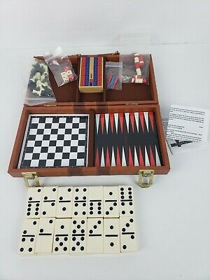 """Travel Game Set Includes """"Checkers, Chess, Dominoes, Backgammon, and Cribbage"""""""
