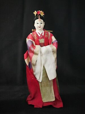 Antique Korean Fabric Doll Traditional Dress/Wood Base Made in Seoul South Korea