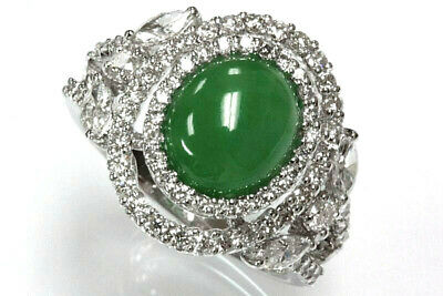 11.35 ct tw Natural Green Jade & Diamond Solid 14k White Gold Halo Cocktail Ring