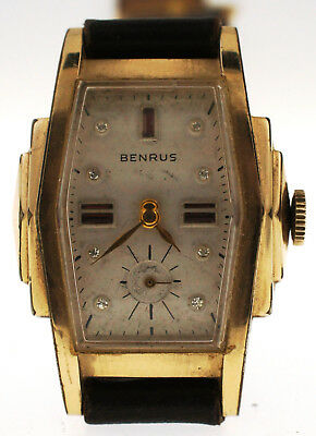 Vintage 1940s 10K Gold Filled Benrus Watch Art Deco Stepped Case Rhinestone Dial