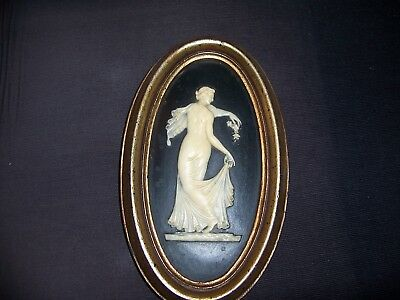 Vtg Burwood Framed Oval Hanging Plaque Draped Grecian Lady With Grapes