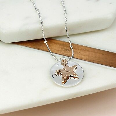 New Embossed Rose Gold Star On Silver Disc Necklace