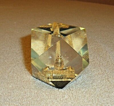 Vintage Lucite Acrylic Washington DC Paperweight- 14 Sided Shape- Gold Buildings