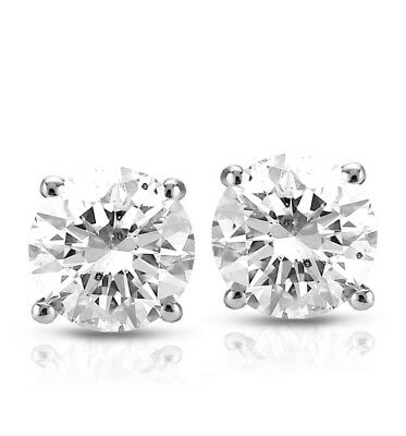 1.05 ct GVS2 Round Natural Diamond Certified Stud Earrings 14Kw/g Not Enhanced