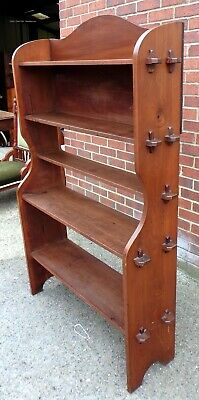 Edwardian antique solid pegged satin walnut open library bookcase book shelf