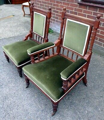Pair Victorian antique Arts & Crafts sold oak green velvet library armchairs