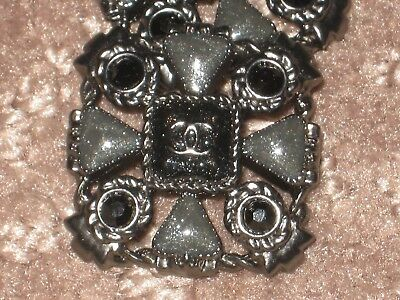 Chanel 2 Metal Cc Logo  Black Olive Glass Buttons 18 Mm /3/4''  Lot 2