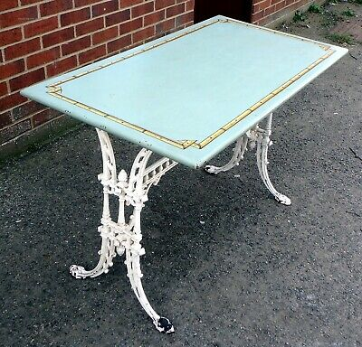 Victorian antique cast iron painted faux bamboo kitchen dining console table