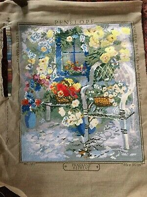 Vintage hand stitched Penelope completed tapestry