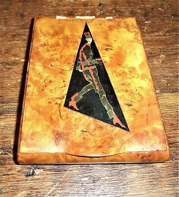 ANTIQUE Art Deco Burl -Birdseye Wood wooden Treen brass inlay Cigarette Box Case