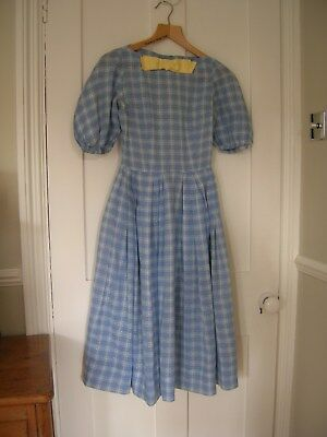 Ladies vintage day dress 1940's 1950's Blue and Yellow Gingham Check Rockabilly