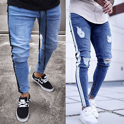 Men's Ripped Skinny Jeans Destroyed Frayed Slim Fit Denim Pants Stretch Trousers