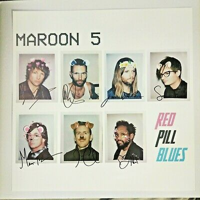 "MAROON 5 Red Pill Blues HAND SIGNED LITHOGRAPH Poster 12"" Official ADAM LEVINE"