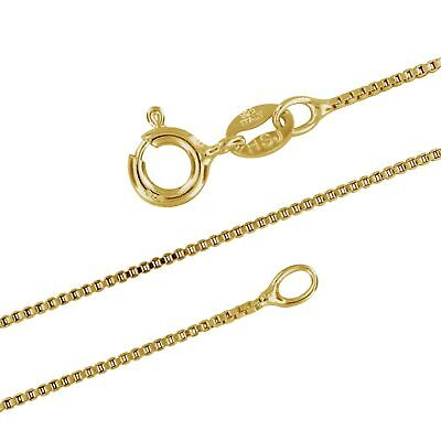 14kt Yellow Gold Plated Sterling Silver 1mm Box Chain Necklace Solid Italian Nic