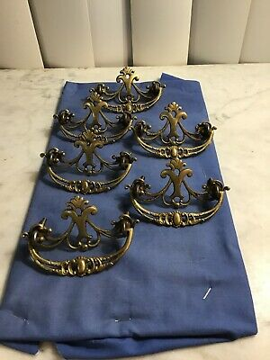 Set Of Six Antique Cast Solid Brass Dresser Pulls/ Knobs Ornate
