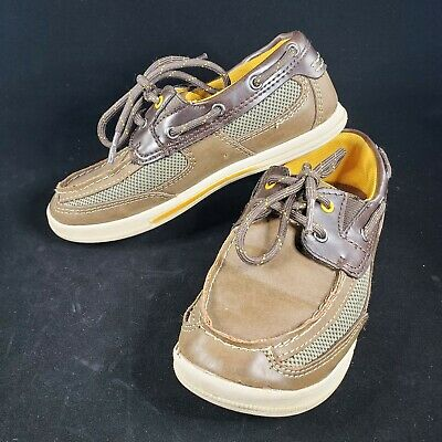 Boys Kids American Eagle AE Tan Brown Lightweight Boat Shoes-size 13.5 youth