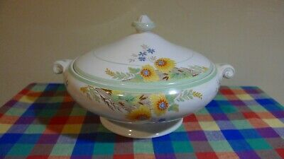 Rare Stunning Crown Ducal Tureen Yellow Flowers Serving Dish Made in England